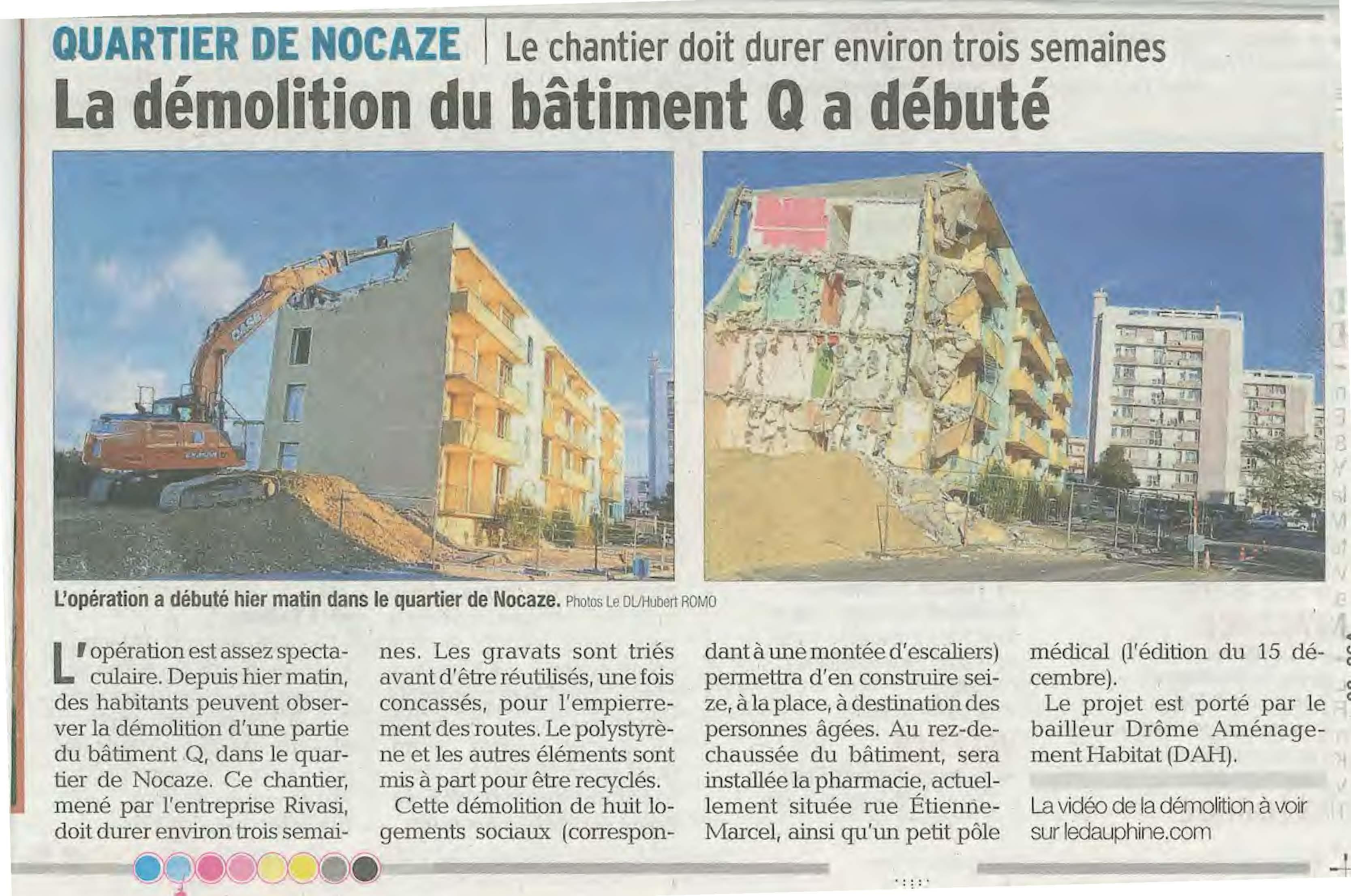 Montélimar – Démolition quartier Nocaze