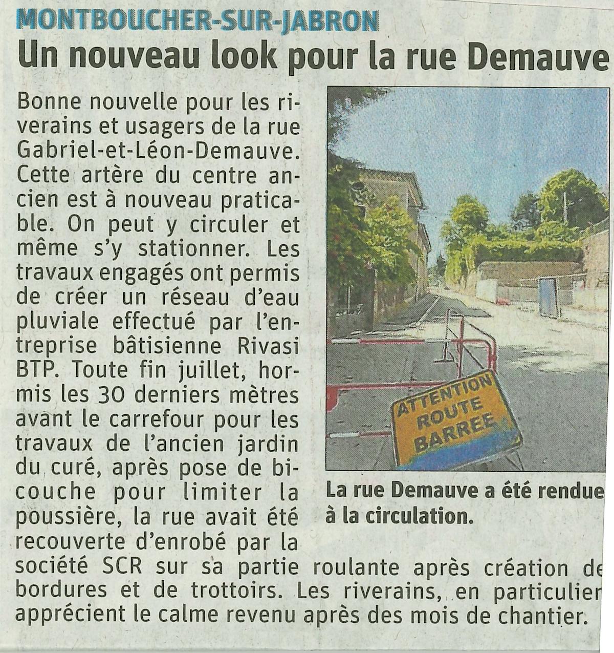 Montboucher sur Jabron : Nouveau look pour la rue Demauve