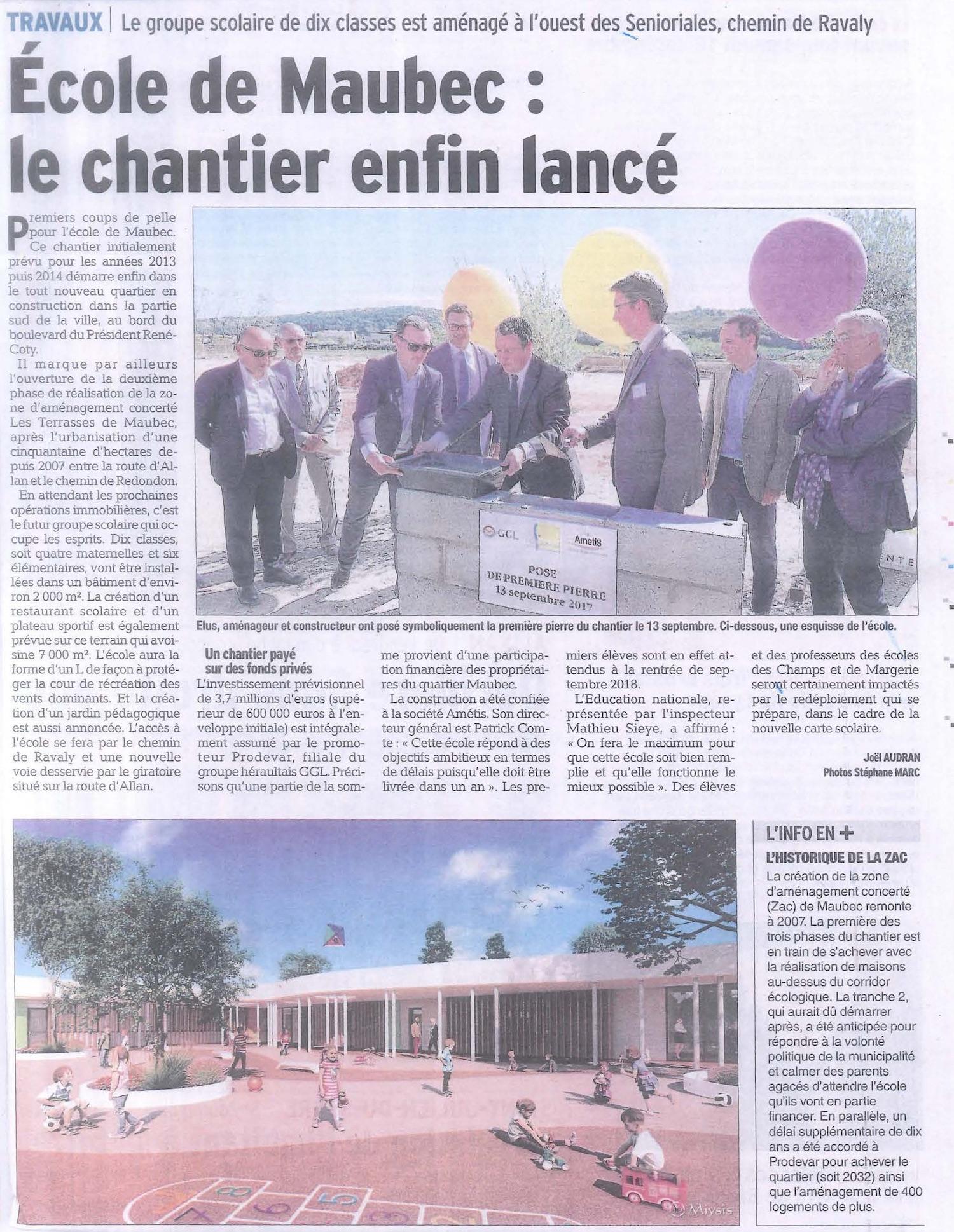 Article Dauphiné Libéré du 14 Septembre 2017