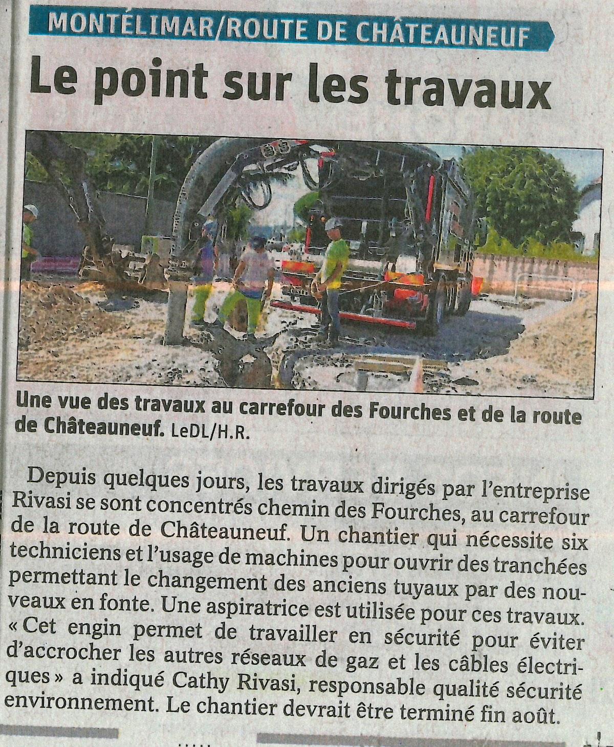 Route de Châteauneuf : Point sur les travaux