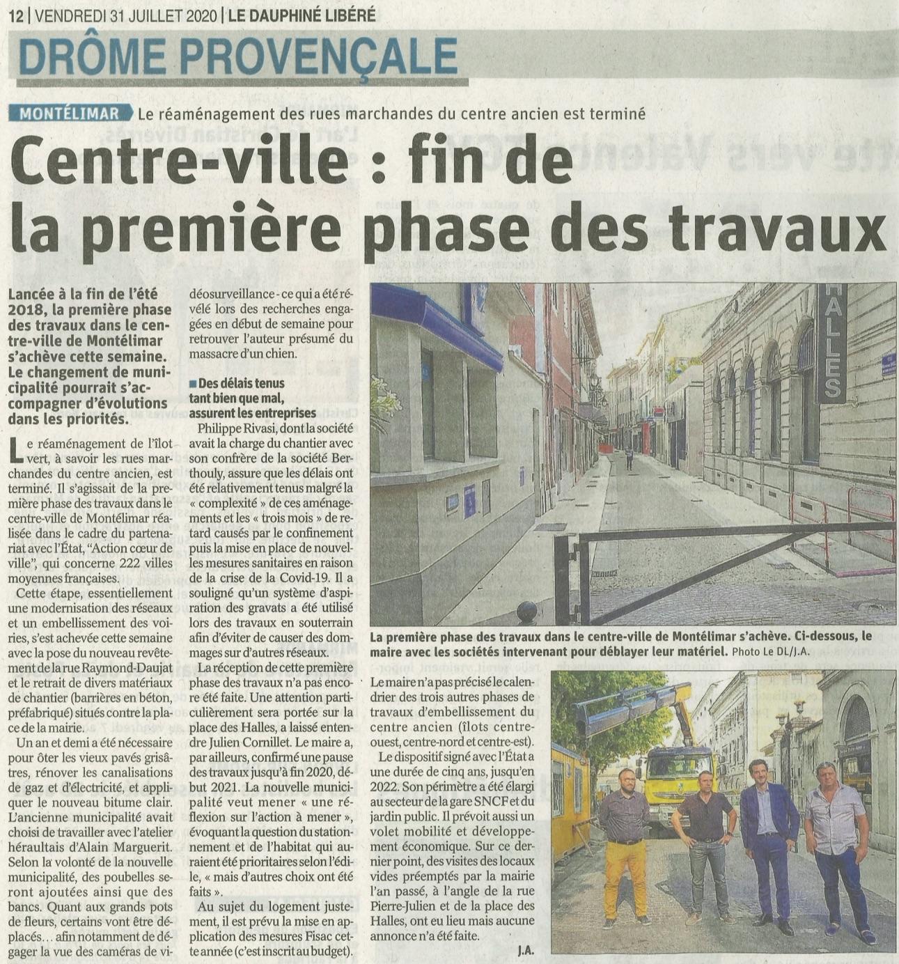 Rivasi Dauphiné Libéré Montélimar Centre ville fin de la première phase de travaux