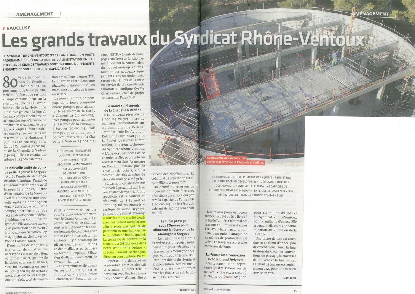 Les grands travaux du syndicat Rhône-Ventoux