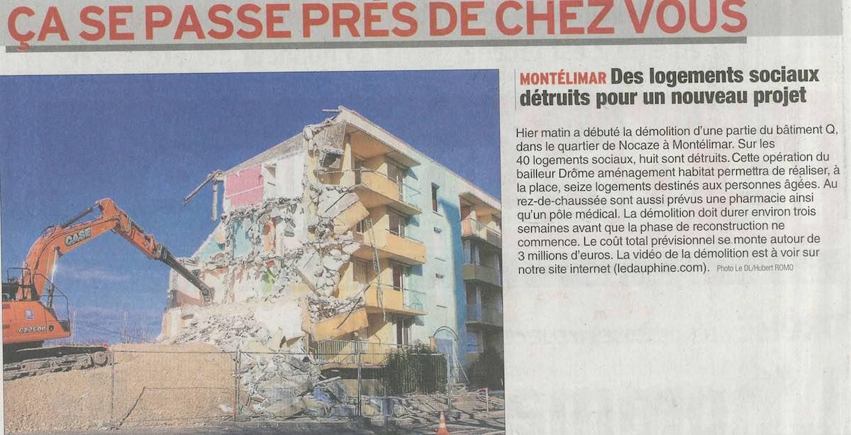 Montélimar – Destruction logements sociaux.